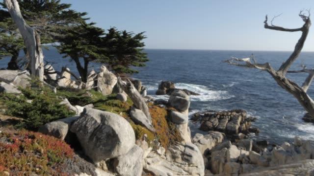 pacific ocean and rocks on coastline of 17 mile drive, carmel, california, united states of america, north america - north pacific ocean stock videos & royalty-free footage