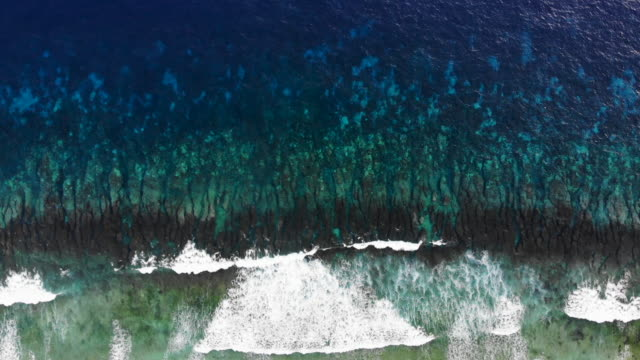 vídeos de stock, filmes e b-roll de pacific ocean waves break on november 26, 2019 in funafuti, tuvalu. the low-lying south pacific island nation of tuvalu holds about 11,000 people and... - south pacific ocean