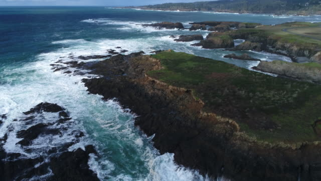 Pacific Ocean Whitewater Splashes Against Rugged Mendocino Coast