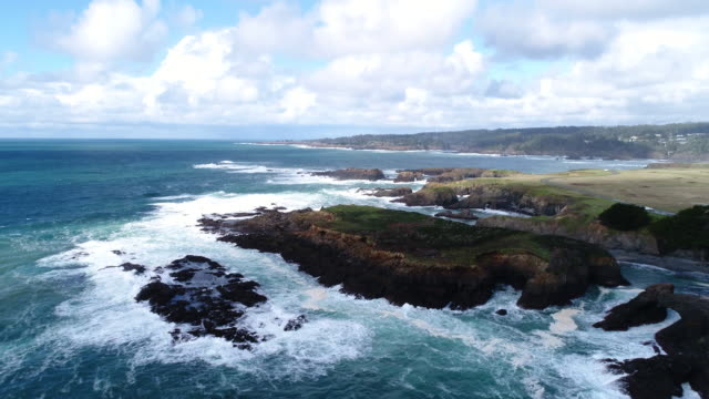 pacific ocean whitewater splashes against rugged mendocino coast - nordkalifornien stock-videos und b-roll-filmmaterial