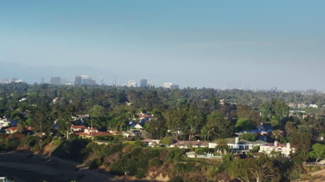 pacific palisades, california - drone shot - pacific palisades stock videos & royalty-free footage