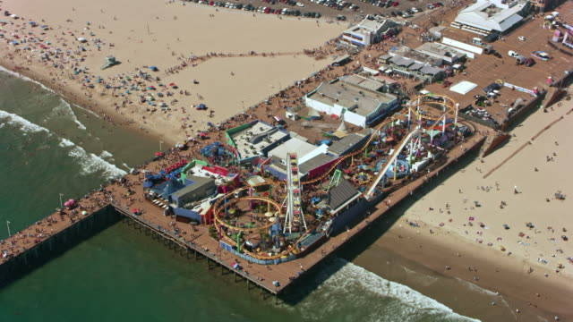 aerial pacific park, the amusement park on the santa monica pier - santa monica pier stock videos & royalty-free footage