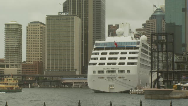 Pacific Princess boat in downtown Sydney harbour, Australia