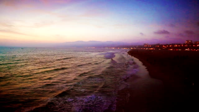 pacific sunset on santa monica beach california usa aerial - grainy stock videos & royalty-free footage