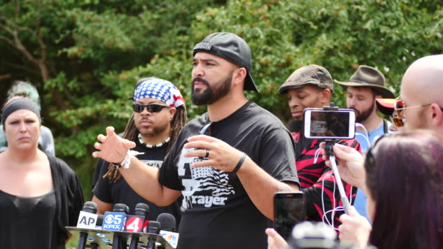Joey Gibson of the altright group Patriot Prayer speaks at a news conference in Pacifica Calif Saturday Aug 26 2017 Patriot Prayer were supposed to...