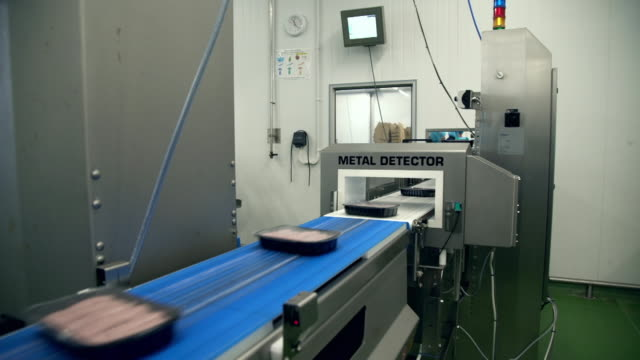 packaged sausages go through metal detector in factory - 衛生管理点の映像素材/bロール