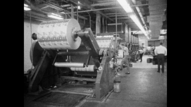 packaging being printed on large industrial press; 1964 - printing out stock videos & royalty-free footage