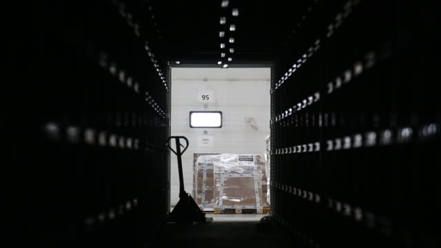 packed orders prepared for transportation at an ozon fulfillment center in khorugvino village, moscow oblast, russia, on tuesday, october 13, 2020.... - hubwagen stock-videos und b-roll-filmmaterial