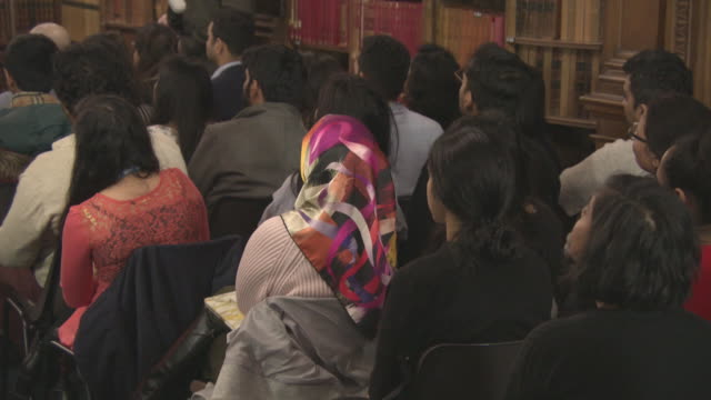 ATMOSPHERE 'Pad Man' Producer Twinkle Khanna addresses The Oxford Union at The Oxford Union on January 18 2018 in Oxford England