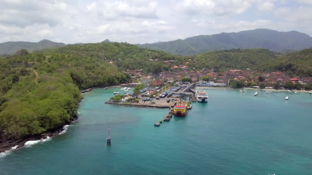 padangbai harbor and village - indonesia video stock e b–roll