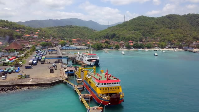 padangbai harbor and village - indonesia islands stock videos & royalty-free footage