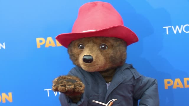 paddington bear at 'paddington' los angeles premiere at arclight cinemas cinerama dome on january 10 2015 in hollywood california - arclight cinemas hollywood video stock e b–roll