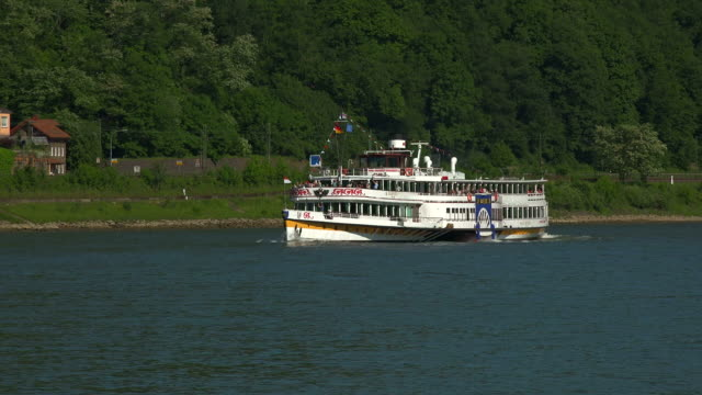 paddle steamer goethe near stolzenfels, koblenz, rhine valley, rhineland-palatinate, rheinland-pfalz germany, deutschland - deutschland stock videos & royalty-free footage
