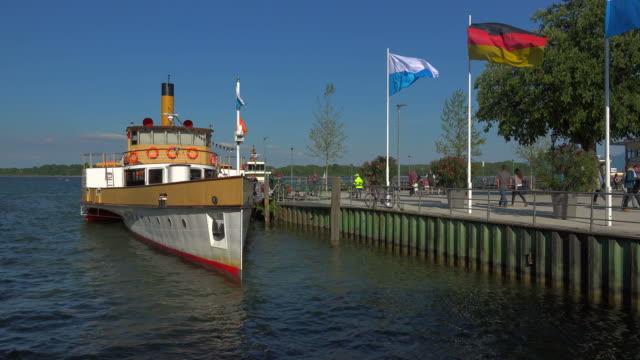 paddle steamer ludwig fessler in the harbour of prien, lake chiemsee, chiemgau, upper bavaria, bavaria, germany - german culture stock videos & royalty-free footage