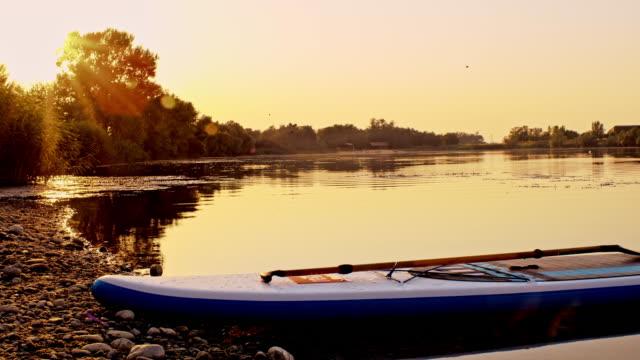 ds paddleboard sulla riva di un laghetto - remo video stock e b–roll