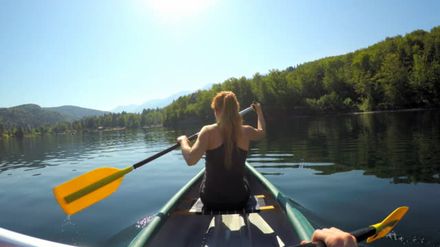 Paddling canoe on a pristine lake