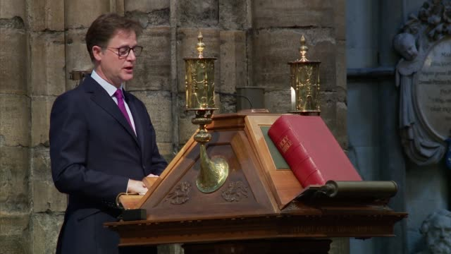 paddy ashdown memorial service at westminster abbey england london westminster abbey nick clegg speech sot - paddy ashdown stock-videos und b-roll-filmmaterial