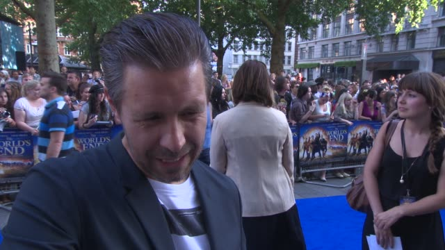 paddy considine on being on set, working with the rest of the cast, his career at 'the world's end' world premiere at empire leicester square on july... - the world's end stock videos & royalty-free footage