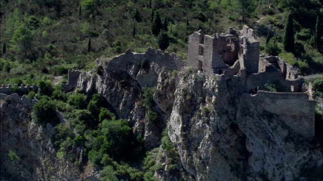 padern castle  - aerial view - languedoc-roussillon, aude, arrondissement de narbonne, france - aude stock videos & royalty-free footage
