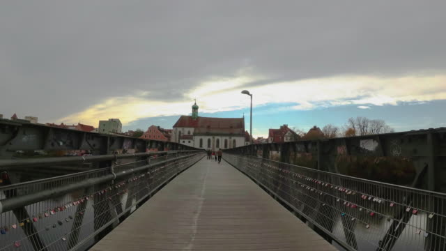 padlock bridge in regensburg germany - regensburg stock videos & royalty-free footage