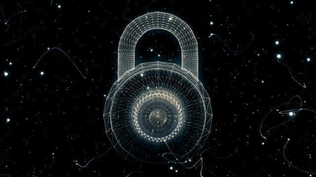padlock generated from a particle vortex - security stock videos & royalty-free footage