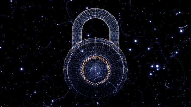 padlock generated from a particle vortex - computer key stock videos and b-roll footage