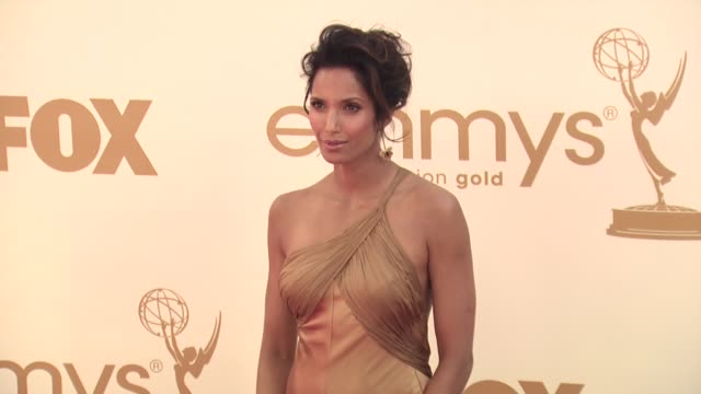 padma lakshmi at the 63rd primetime emmy awards arrivals part 1 at los angeles ca - 63rd annual primetime emmy awards stock videos and b-roll footage