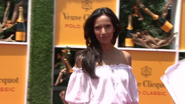 padma lakshmi at the fifth annual veuve clicquot polo classic at liberty state park on june 02 2012 in jersey city new jersey - 動物を使うスポーツ点の映像素材/bロール