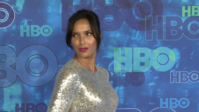 padma lakshmi at the hbo's post emmy awards reception - arrivals at the plaza at the pacific design center on september 18, 2016 in los angeles,... - パドマ ラクシュミ点の映像素材/bロール