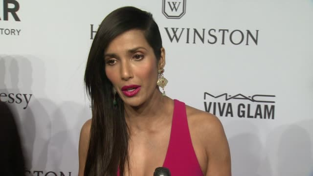 padma lakshmi discusses attending amfar events for a long time. she supports what they stand for. talks about why harvey weinstein deserves to be... - パドマ ラクシュミ点の映像素材/bロール