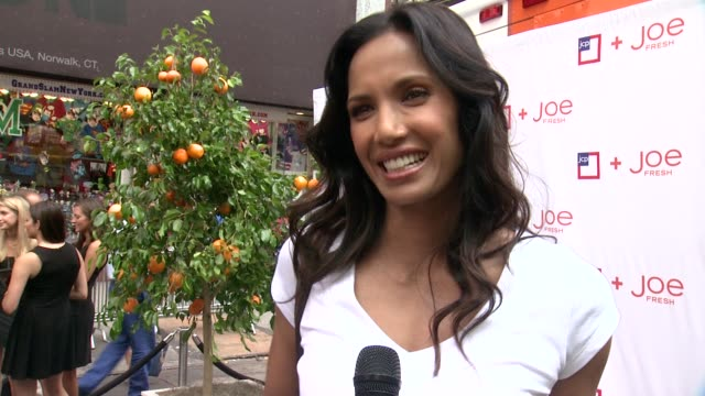 padma lakshmi on adopt a classrom and joe fresh baby clothes at jcpenney + joe fresh kids orange grove at times square on august 21, 2013 in new... - パドマ ラクシュミ点の映像素材/bロール