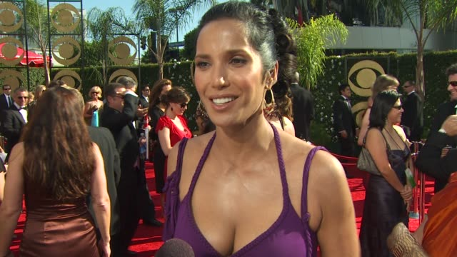 padma lakshmi on her nomination, experiencing the emmys, how long it took to get ready, her dress. at the 61st annual primetime emmy awards -... - パドマ ラクシュミ点の映像素材/bロール