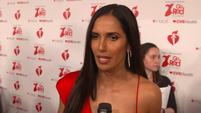 padma lakshmi on reasons for attending and everything the event does to fight heart disease at the the american heart association's go red for women... - パドマ ラクシュミ点の映像素材/bロール