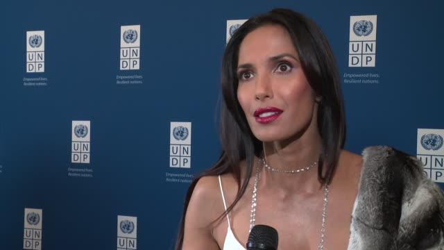 padma lakshmi talks about the hope for more gender equality in the future at united nations development programme inaugural global goals gala: a... - パドマ ラクシュミ点の映像素材/bロール