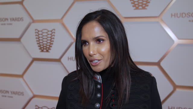 padma lakshmi talks about the vessel at hudson yards, new york's newest neighborhood, official opening event at hudson yards on march 15, 2019 in new... - パドマ ラクシュミ点の映像素材/bロール