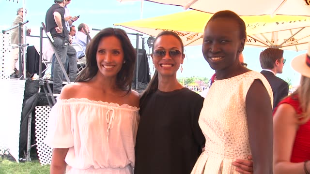 Padma Lakshmi Zoe Saldana and Alex Wek at The Fifth Annual Veuve Clicquot Polo Classic at Liberty State Park on June 02 2012 in Jersey City New Jersey