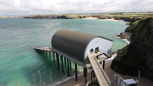 padstow lifeboat station on trevose head cornwall united kingdom on august 20 2015 - atlantic ocean stock videos & royalty-free footage