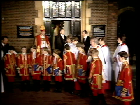 england tms page boys choristers exit chapel london royal along lr st james ms side rt rev dr john habgood in full regalia as choristers in f/g along... - semi circle stock videos & royalty-free footage