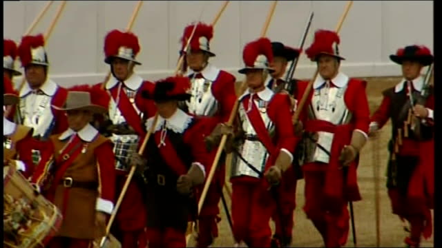Pageant honours Territorial Army Territorial Army soldiers in historic uniforms with helmets and armoured breastplates Territorial Army soldiers in...