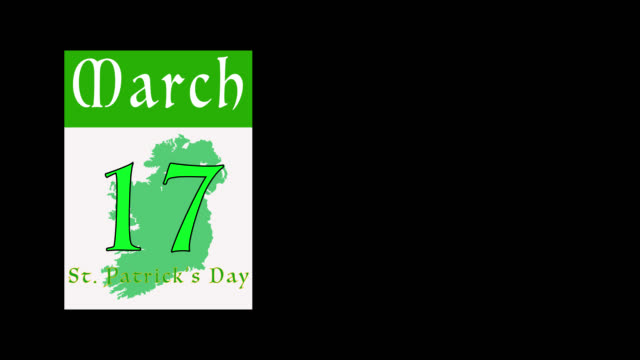 pages being removed from a calendar as a countdown to st patrick's day with alpha channel - st. patrick's day stock videos & royalty-free footage
