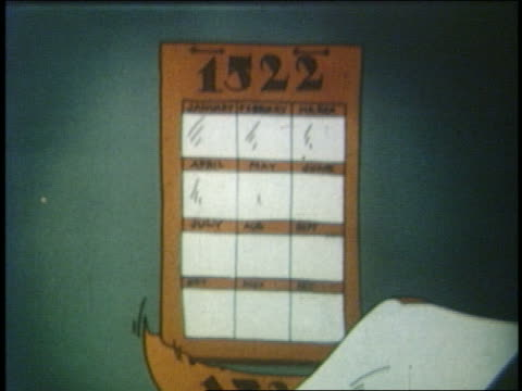 vídeos de stock, filmes e b-roll de 1935 animated pages of wall calendar from 1500s falling of wall - século xvi