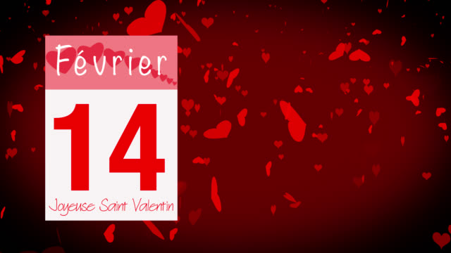 pages pealing from a calendar stopping at 14 of february with valentine greeting in french - vignette stock videos & royalty-free footage