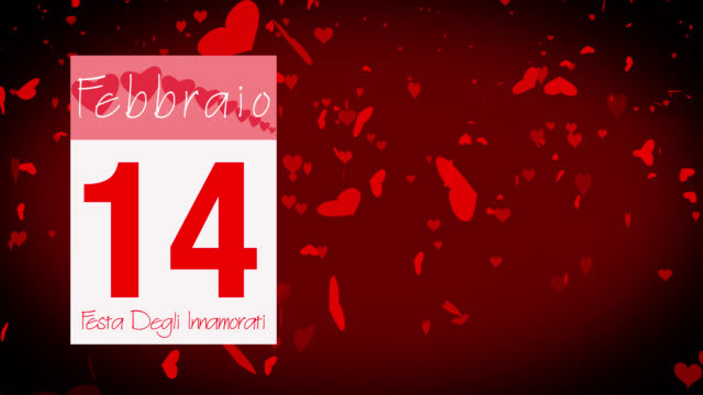 pages pealing from a calendar stopping at 14 of february with valentine greeting in italian - vignette stock videos & royalty-free footage