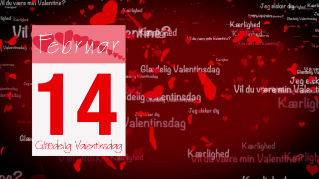 pages pealing from a calendar stopping at 14 of february with valentine greeting in danish - vignette stock videos & royalty-free footage