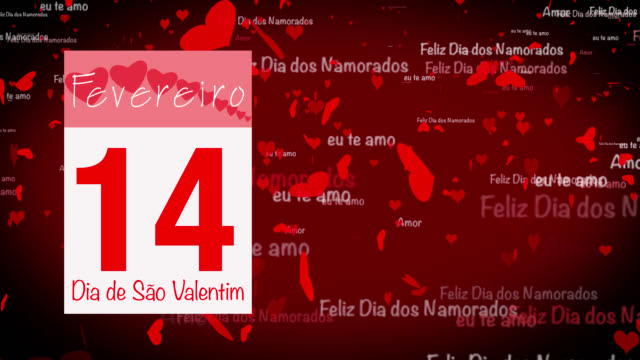 Pages pealing from a calendar stopping at 14 of February with valentine greeting in Portuguese