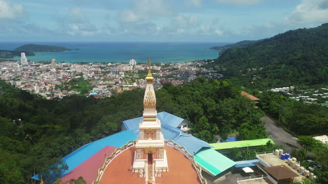 pagoda and patong city in aerial view - pagoda stock videos & royalty-free footage