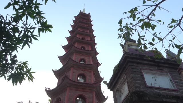 pagoda at tran quoc buddhist temple at hanoi - hanoi stock videos and b-roll footage
