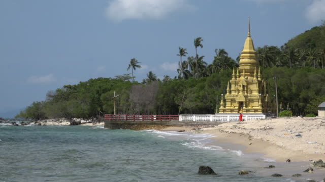 pagoda chedi laem sor at beach of bang kao - pagoda stock videos & royalty-free footage