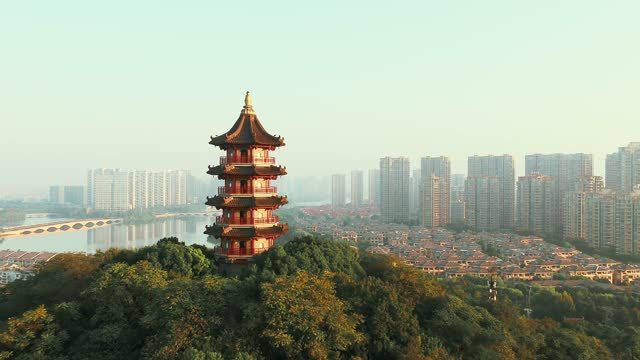 pagoda  on mountain with cityscape - pagoda stock videos & royalty-free footage