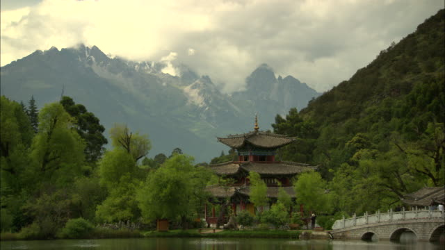 WS TU TD Pagoda with snowcapped mountain behind, Lijiang, Yunnan, China